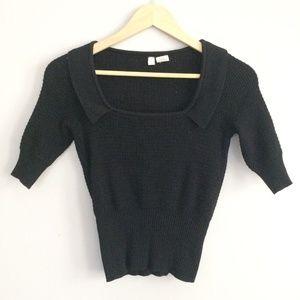 Anthropologie Moth Black 3/4 Sleeve Square Sweater